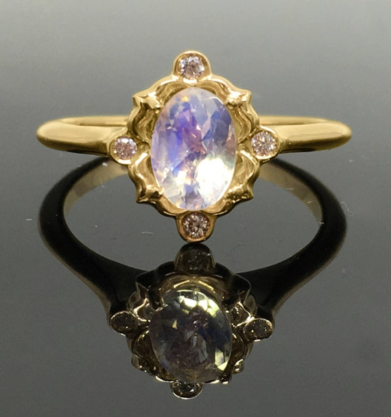 Yellow Gold Vintage Inspired Moonstone Diamond Engagement Ring , 14K Yellow  Gold Victorian Moonstone Ring , Rainbow Moonstone Promise Ring