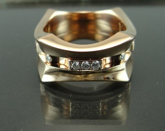 5ace3b306e27 Venda de boda de 14K oro rosa diamantes oro anillo rosa de hombres con Pave  Set diamantes diamantes Pave banda de hombres