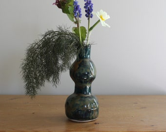 Rustic Stoneware Tall Vase Peacock Boho Blur