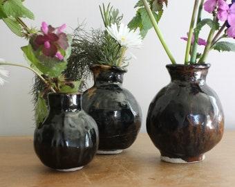 Set of three small posy pot vases dark