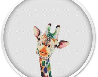 Giraffe Cross Stitch Pattern, Cross Stitch PDF, Watercolor Cross stitch pattern, Paint Cross Stitch, animal cross stitch patterns #127