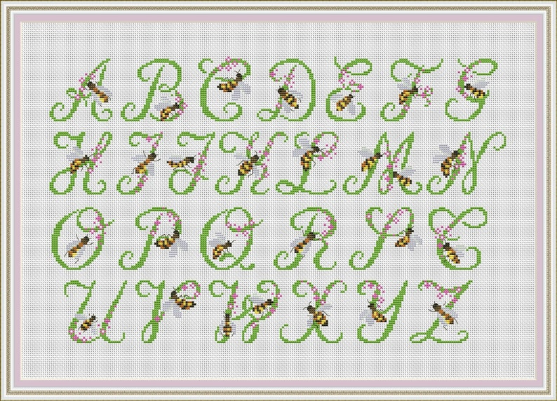 Bee alphabet cross stitch patterns, cross stitch fonts, alphabet engraved  abc, letters lettering text, characters cross stitch pattern #146