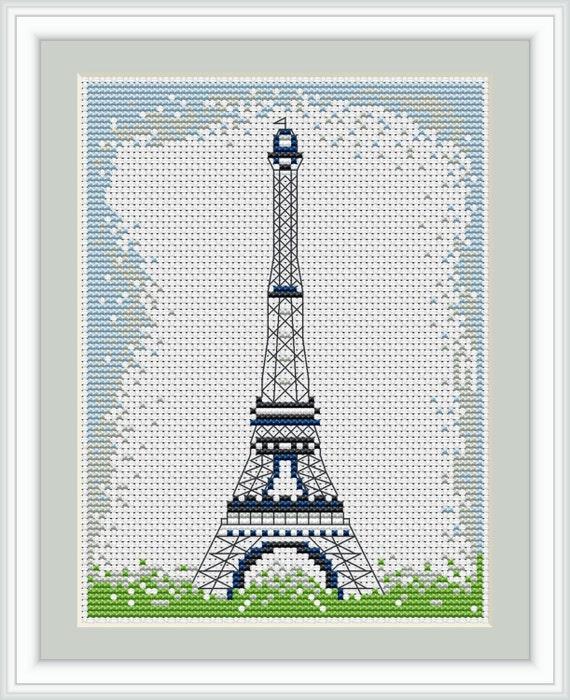 Eiffel Tower Cross Stitch 5 x 6 inches Petite Cross Stitch In Paris Cross Stitch Kit