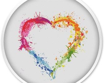 Heart cross stitch pattern, free shipping, cross stitch pdf, watercolor cross stitch pattern,  pdf cross stitch, love pattern, heart #003