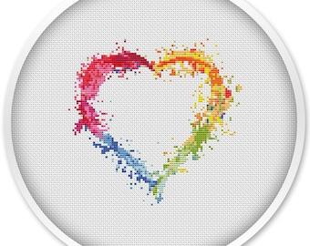 Small heart cross stitch pattern, free shipping, abstract cross stitch pdf, watercolor cross stitch, pdf cross stitch, love #008
