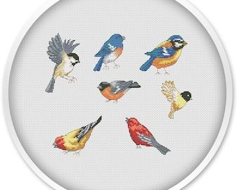 Set of birds cross stitch pattern, cross stitch pdf, birds, pdf cross stitch, animal cross stitch pattern, winter birds cross stitch #211