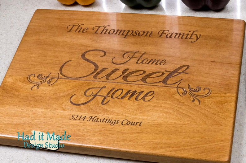 House Warming Gift Custom Cutting Board Engraved Cutting Board HSH1 Wedding Gift Home Sweet Home Cutting Board