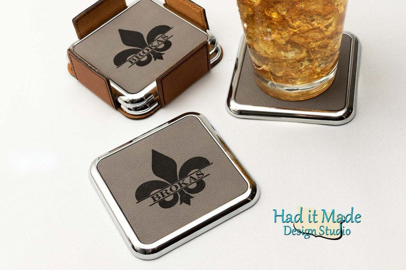 Closing Gift Fleur-de-lis Coaster Set, Realtor Gift 3rd Anniversary CS-F12 Wedding Gift Housewarming Gift Monogram Leather Coaster