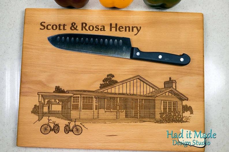 Engraved Cutting Board HSH5 Custom Cutting Board Bicycle House Warming Gift House Cutting Board