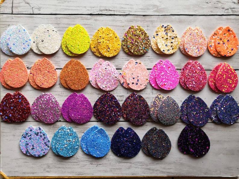 Double Sided Glitter. Earring Supplies 50mm x 38mm 20pcs  10pairs of Super Chunky Glitter Teardrop Pendants For Earrings