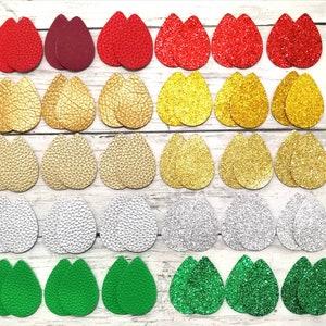 5cm x 3.5cm. 30pcs Glitter Teardrop /& 30pcs Solid Color Faux Leather Teardrop,Double Sided 60pcs  30pairs Assorted Color  Teardrop Precut