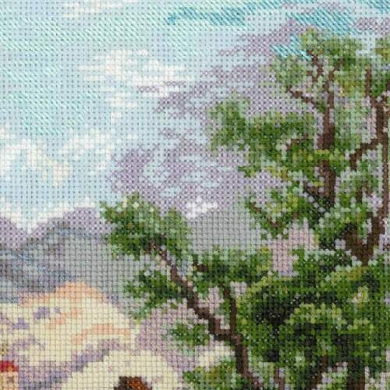 Monastery Shonenvert after Engravings of the XIX Century; Christmas gift; landscape embroidery Cross Stitch Kit by Riolis