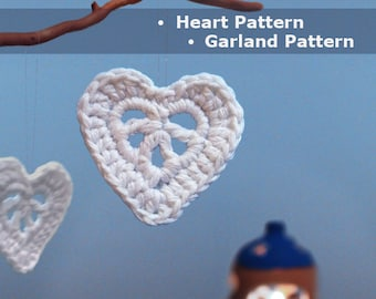 Valentine decoration crochet heart crochet garland christmas crochet pattern DIY crochet Christmas decoration easy crochet Christmas decor