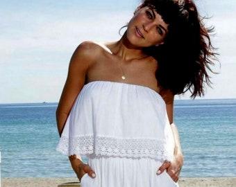 KOKETA  Organic Gauze Cotton Lace Strapless Sides Pockets Long Jumpsuit