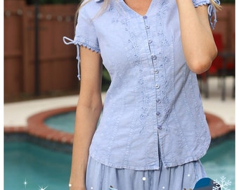 Women/'s PLUS Organic Cotton Short Sleeves CHIQUI  Embroidery Blouse