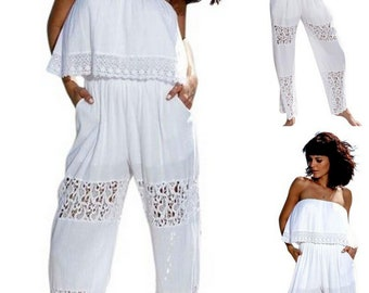 a1d1fcd90fdc KOKETA Organic Gauze Cotton Lace Strapless Sides Pockets Long Jumpsuit.  TheOrganicottonStore