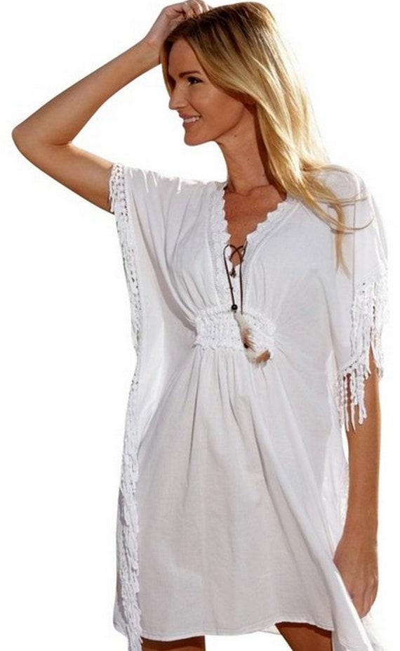 Osuna Organic Cotton Fringe Lace Resort Cover Up Kaftan Dress