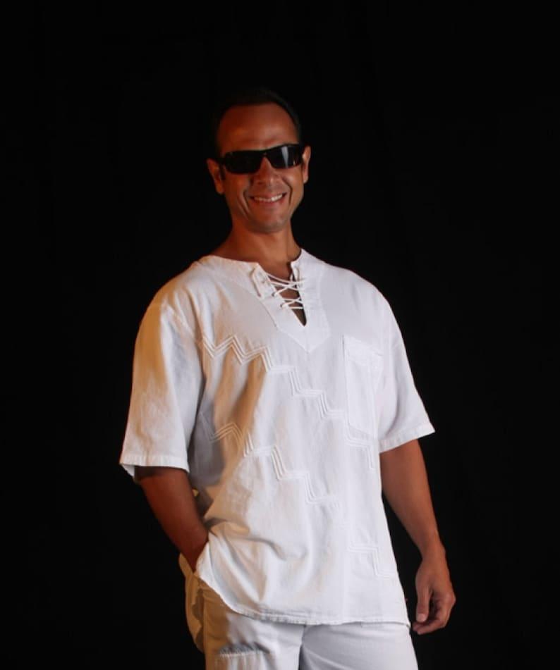 KAZAS  Organic Cotton Embroidered Ethnic Retro Men/'s Shirt