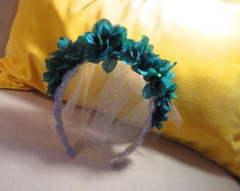 Silver and Blue Wedding Headband