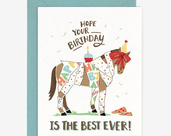 Best Ever Birthday Card // Funny Whimsical Gift Horse Pony Equestrian Pizza Cupcake Party Quirky Hand Lettering Colorful Bold Bday Gift