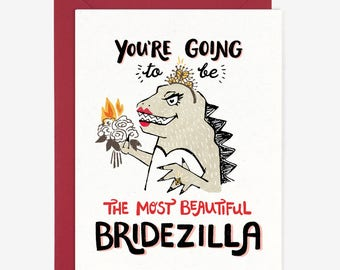 Beautiful Bridezilla Card // Bridal Shower Engagement Wedding Funny Congrats Whimsical Witty Quirky Hand Lettering Friendship