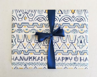 Happy Hanukkah Gift Wrap in White / Fun Whimsical Bold Modern Folk Mystical Wrapping Paper Blue White Gold Star Lettering