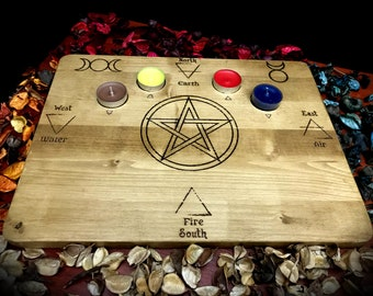 Pyrographed altar base - occult paganism wicca magic witchcraft witch elemental spirits earth air water fire pagan symbolism paganism spell