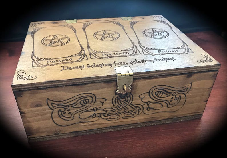 Laser Engraved Wooden Box With Reading Tarot Table Witch Magic Handmade Wicca Pagan Symbolism Tarot Pyrography Grimoire Book Of Shadows