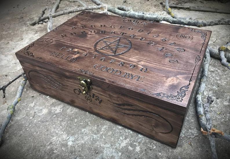 Ouija Box Pyrographed Wooden Box With Ouija Spirit Board Witch Magic Handmade Wicca Tarot Pyrography Grimoire Spirit Spiritism