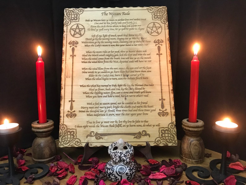 The Wiccan Rede laser engraved on fir wood - occult paganism magic  witchcraft witch God Goddess pagan symbolism paganism spell wicca
