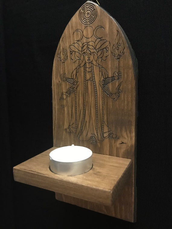 Wooden wall tealight holder - occultism paganism pagan symbolism magic  witchcraft candle esotericism spell witch handmade wood Hecate Ecate