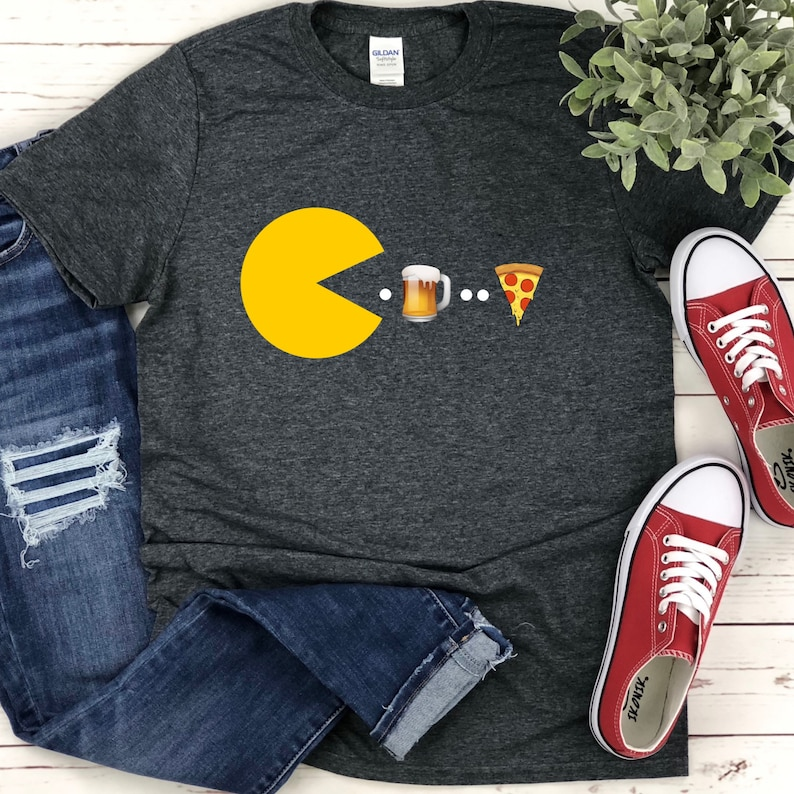 Pac-Man Beer and Pizza T-shirt for Men, S to 3XL