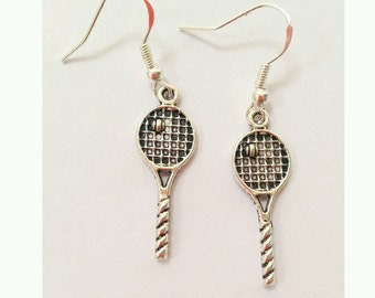 tennis earrings, tennis racquet earrings,tennis racquet and ball earrings, wimbledon gifts, gift for tennis player, tennis jewelry