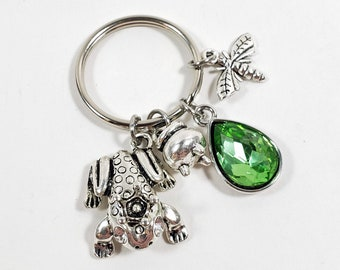 Frog Princess Keychain Inspired by Tiana, Custom Light Green Key Chain, Personalized Princess and the Frog Zipper Pull with Letter Charm