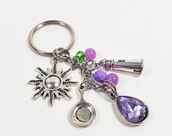 Rapunzel Keychain Inspired by Tangled, Custom Lavender Key Chain or Car Accessory, Personalized Light Tanzanite Zipper Pull w/ Letter Charm