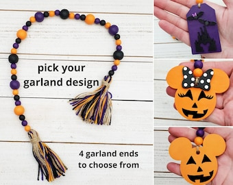 """Halloween Garland w/ Tassel and Jack O Lantern or Castle Tag Ornament, 26"""" Hand Painted Wood Bead Garland for Halloween Tiered Tray Decor"""
