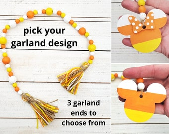 """Candy Corn Garland w/ Tassel and Mouse Head Ornament, 26"""" Hand Painted Wood Bead Garland for Halloween Tiered Tray, Candy Corn Fall Decor"""