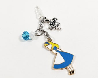 Alice in Wonderland Phone Charm, Blue Cell Phone Accessories, Switch Controller Headphone Jack Cover, Gamer Girl Gifts, Cute Nerd Dust Plug