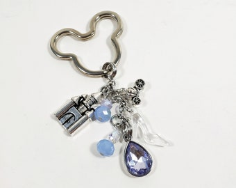 Light Blue Keychain Inspired by Cinderella, Custom Fairytale Key Chain/ Car Accessory, Personalized Mouse Head Zipper Pull with Letter Charm