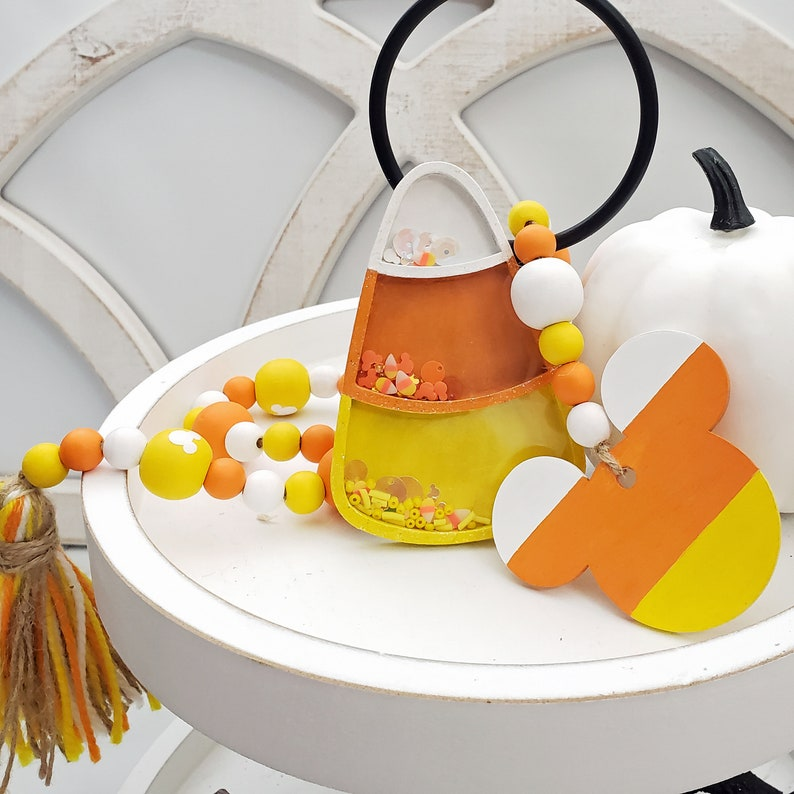 Candy Corn Decor for Halloween Tiered Tray Bundle Decorative image 1