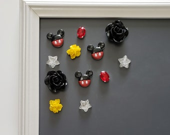 Mickey Flower Magnet Set, Silver Star Push Pins, Cute Fridge Magnets for Board, Home Office Desk Accessories, Black Office Supplies