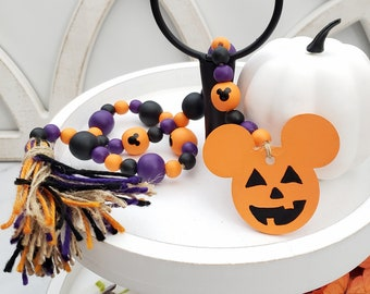 """Custom 26"""" Halloween Wooden Bead Garland with Yarn Tassel and Mouse Head Jack O Lantern or Castle Ornament for Halloween Tiered Tray Decor"""