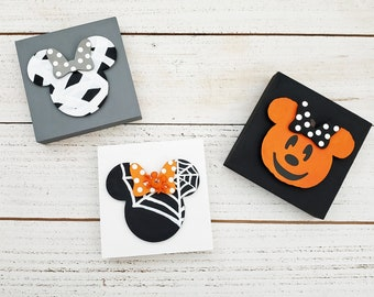 Girl Mouse Halloween Signs for Halloween Tiered Tray Decor, Wooden Jack O Lantern Pumpkin Decor, Custom Spiderweb Mouse Sign You Pick Spider