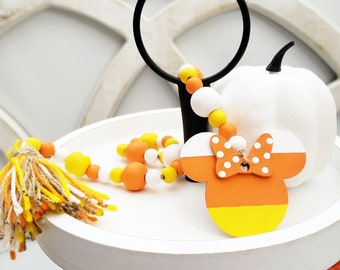 Custom Candy Corn Wooden Bead Garland with Yarn Tassel & Mouse Head Ornament for Halloween Tier Tray Decorations or Shelf Fall Decor