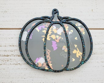 Decorative Black Pumpkin Shaker for Halloween Tiered Tray Display or Small Fall Tabletop Decor, Confetti Filled 3D Halloween Embellishment
