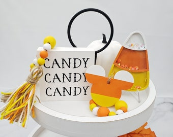 """Candy Corn Decor for Halloween Tiered Tray Set: Candy Corn Shaker w/ Stand, 26"""" Wooden Bead Garland w/Mouse Head, Black and White Candy Sign"""