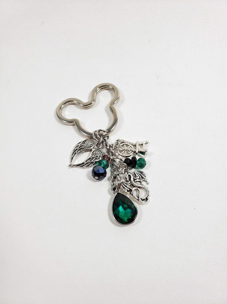 Evil Fairy Keychain Inspired by Maleficent Custom Emerald Key image 1