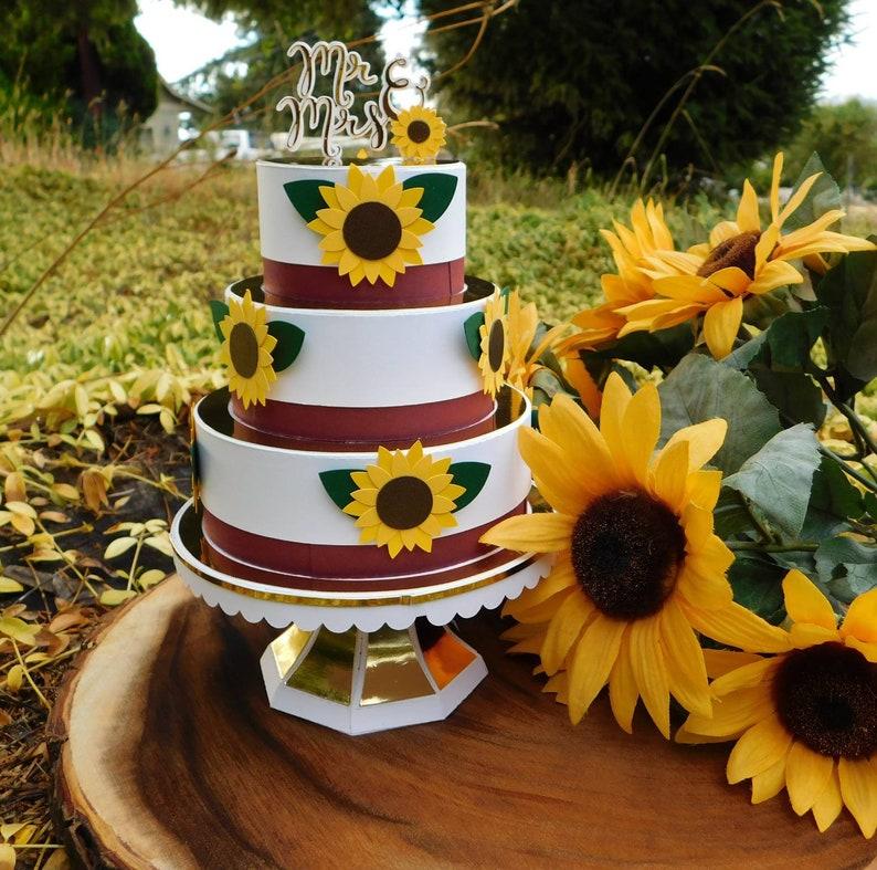 Sunflower Wedding Cake Gift Card Holder Burgundy And White Etsy