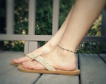 Thin Anklet - Hemp Anklet, Natural Jewelry, Beaded Anklet, Delicate Jewelry, Ankle Bracelet, Simple Anklet, Minimalist Jewelry, Bohemian