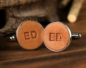 Personalized Wedding Cufflinks - Groom Leather Cufflinks - Custom Cufflinks - Third Year Anniversary Gift for Him - Initials Cufflinks